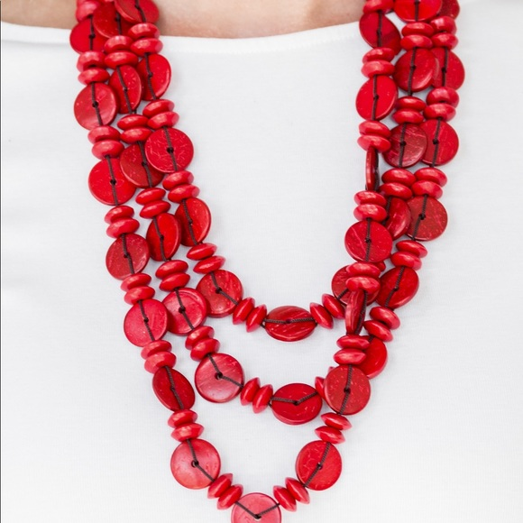 Barbados Bopper Red Paparazzi Wooden Necklace